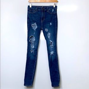 HOLLISTER High Rise Ripped Super Skinny Blue Jeans